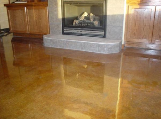 Hardscapes coloured concrete floor.